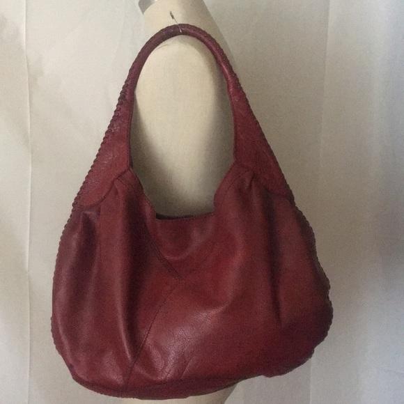 Lucky Brand Handbags - Lucky Brand Leather Hobo Bag Deep Red